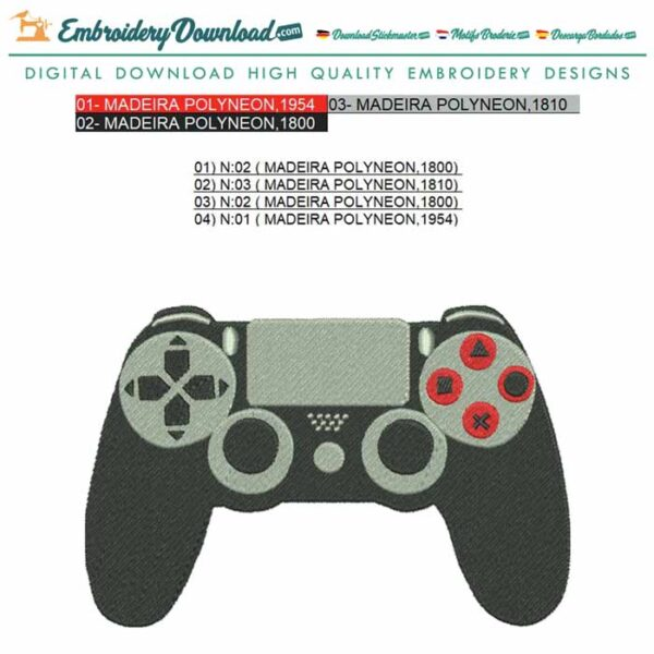 Sony PS4 Controller Embroidery design for Instant Download