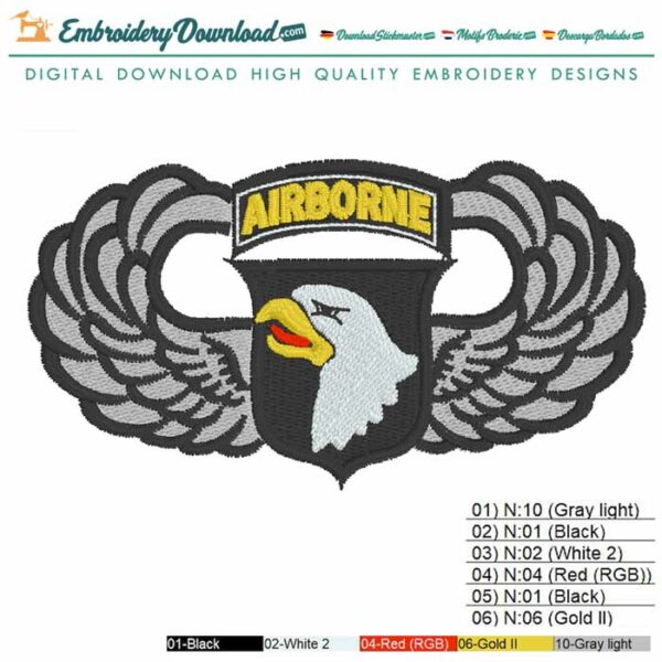 101st Airborne Eagle Division Embroidery design for Instant Download