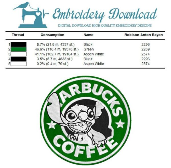 Stitch Coffee Embroidery Design for Instant Download
