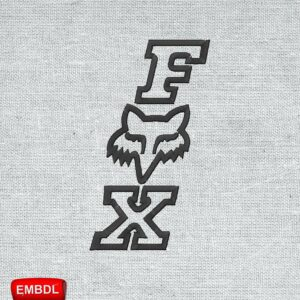 Fox Vertical Logo Embroidery Design For Instant Download