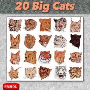 Embroidery Designs Big Cats Pack for Instant Download