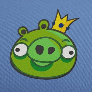 Angry Birds - King Pig Green Embroidery Design Instant Download