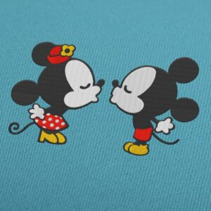 Mickey and Minnie Mouse kiss retro Disney embroidery design
