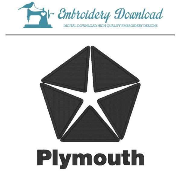 Plymouth Logo Embroidery Design For Instant Download