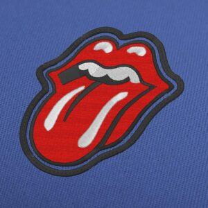 Rolling Stones Tongue With Border Embroidery Design For Download