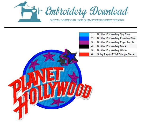 Planet Hollywood - Embroidery design download