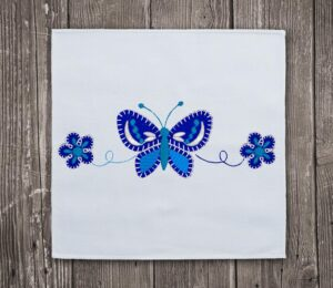 Butterfly & Blue Flowers Embroidery Design For Instant Download
