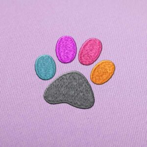 Color Paw Print Embroidery Design for Instant Download