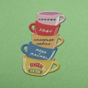 Central Perk Mugs Friends Embroidery design for Instant Download