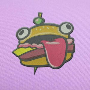 Fortnite Hamburger With Llama Embroidery design for Instant Download