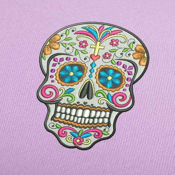 Skull Day of the Dead Embroidery design for Instant Download