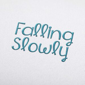 Falling Slowly Font - Machine Embroidery Design Fonts Download